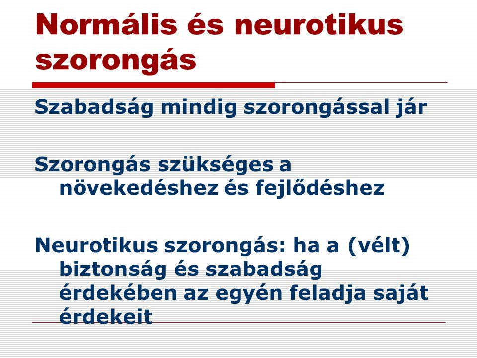 Normális és neurotikus szorongás Szabadság mindig szorongással jár Szorongás szükséges a növekedéshez és fejlődéshez Neurotikus szorongás: ha a (vélt)