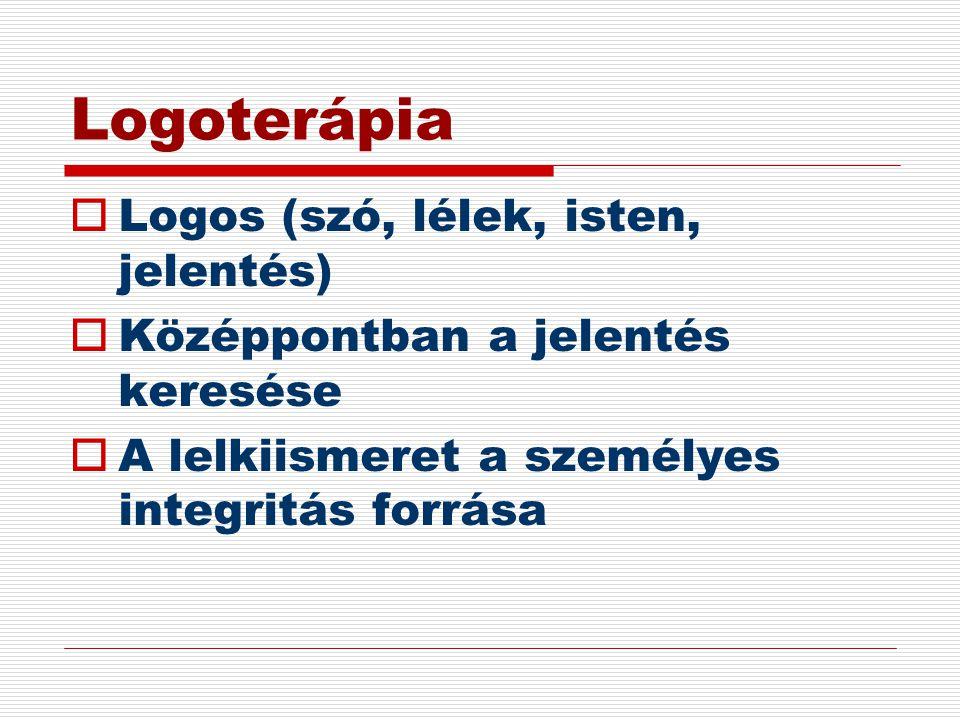 Logoterápia  Logos (szó, lélek, isten, jelentés)  Középpontban a jelentés keresése  A lelkiismeret a személyes integritás forrása