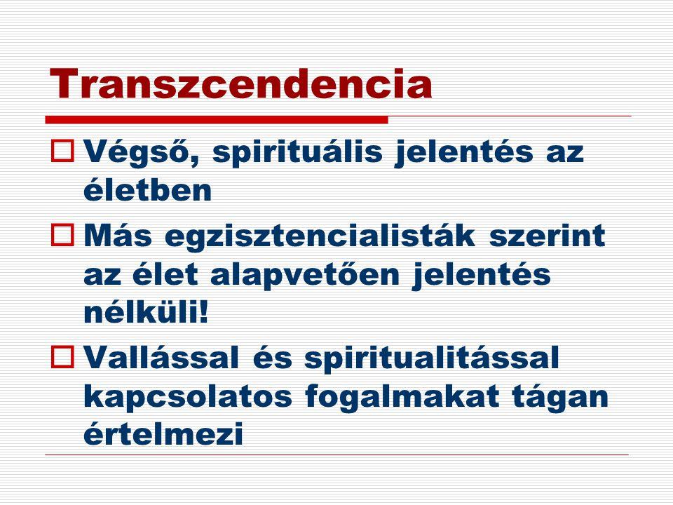 Transzcendencia  Végső, spirituális jelentés az életben  Más egzisztencialisták szerint az élet alapvetően jelentés nélküli!  Vallással és spiritua