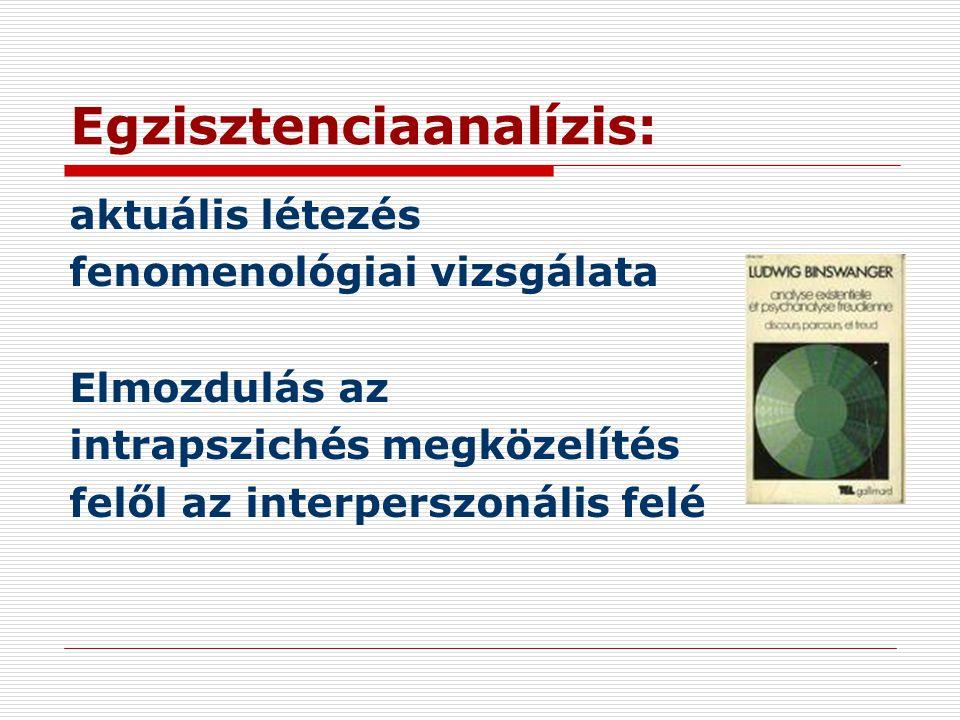 Egzisztenciaanalízis: aktuális létezés fenomenológiai vizsgálata Elmozdulás az intrapszichés megközelítés felől az interperszonális felé