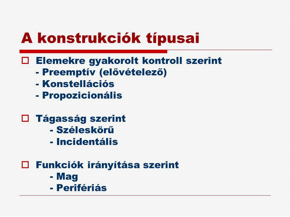 A konstrukciók típusai  Elemekre gyakorolt kontroll szerint - Preemptív (elővételező) - Konstellációs - Propozicionális  Tágasság szerint - Széleskö