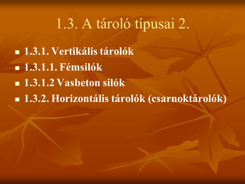 1.3. A tároló típusai 2. 1.3.1. Vertikális tárolók 1.3.1.1. Fémsilók 1.3.1.2 Vasbeton silók 1.3.2. Horizontális tárolók (csarnoktárolók)