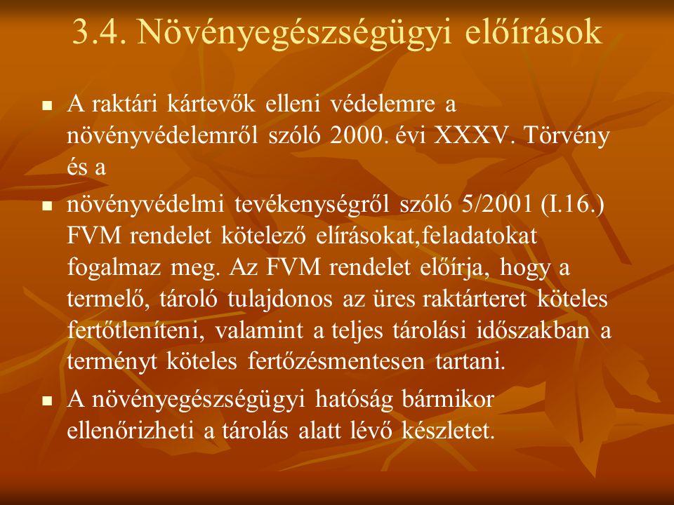 A raktári kártevők elleni védelemre a növényvédelemről szóló 2000. évi XXXV. Törvény és a növényvédelmi tevékenységről szóló 5/2001 (I.16.) FVM rendel