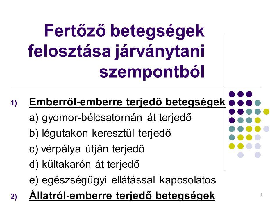 1 Fertőző betegségek felosztása járványtani szempontból 1) Emberről-emberre terjedő betegségek a) gyomor-bélcsatornán át terjedő b) légutakon keresztü