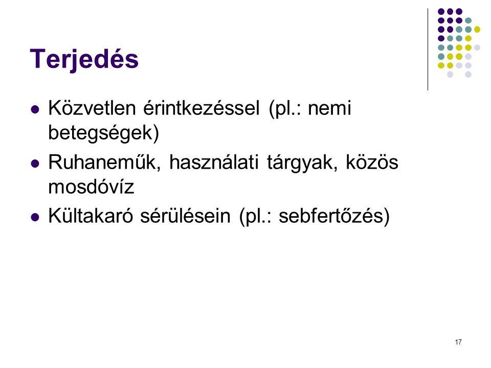 17 Terjedés Közvetlen érintkezéssel (pl.: nemi betegségek) Ruhaneműk, használati tárgyak, közös mosdóvíz Kültakaró sérülésein (pl.: sebfertőzés)