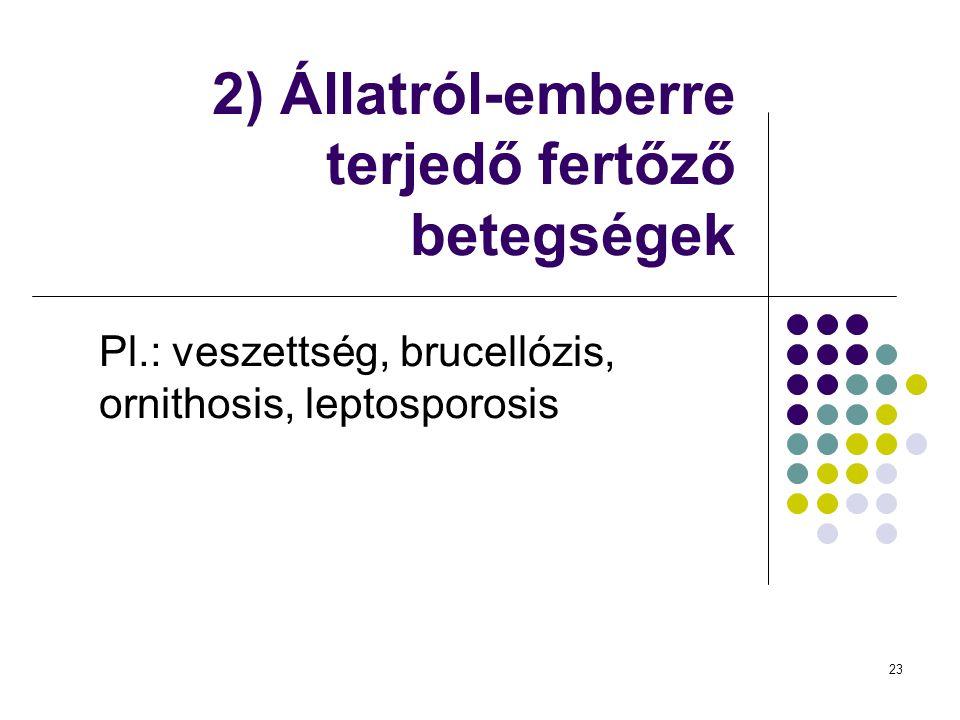23 2) Állatról-emberre terjedő fertőző betegségek Pl.: veszettség, brucellózis, ornithosis, leptosporosis