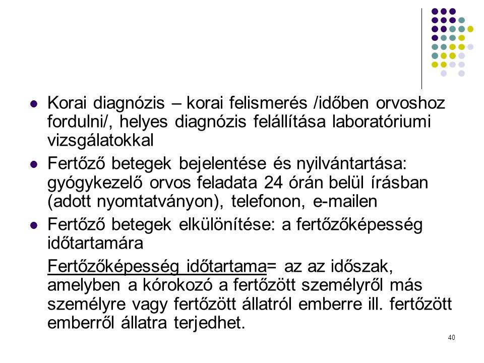 40 Korai diagnózis – korai felismerés /időben orvoshoz fordulni/, helyes diagnózis felállítása laboratóriumi vizsgálatokkal Fertőző betegek bejelentés