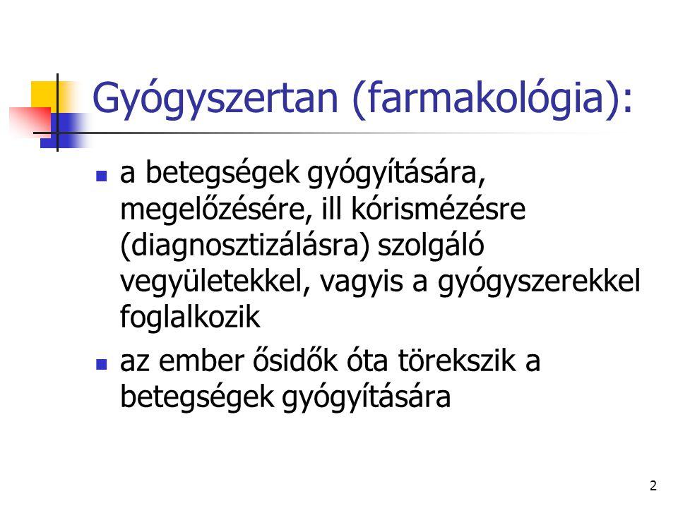 2 Gyógyszertan (farmakológia): a betegségek gyógyítására, megelőzésére, ill kórismézésre (diagnosztizálásra) szolgáló vegyületekkel, vagyis a gyógysze