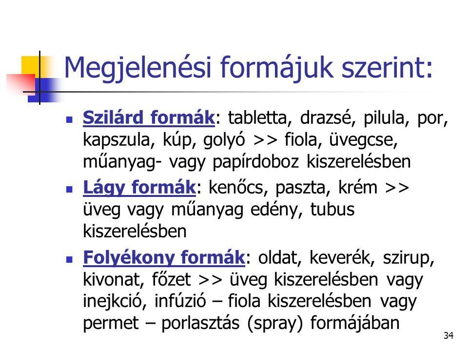 34 Megjelenési formájuk szerint: Szilárd formák: tabletta, drazsé, pilula, por, kapszula, kúp, golyó >> fiola, üvegcse, műanyag- vagy papírdoboz kisze