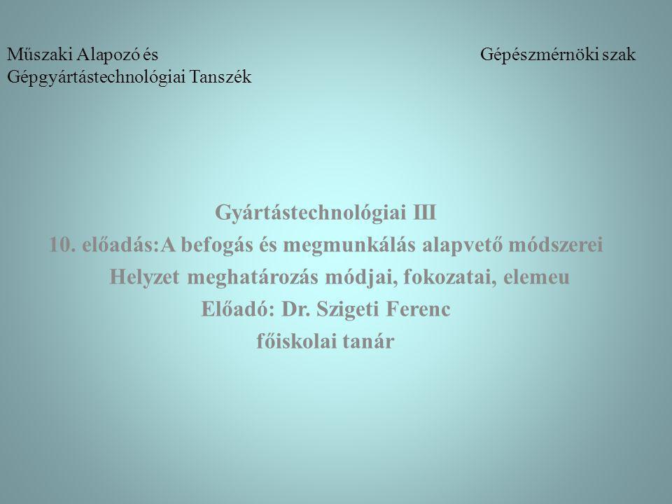 Műszaki Alapozó és Gépészmérnöki szak Gépgyártástechnológiai Tanszék Gyártástechnológiai III 10.