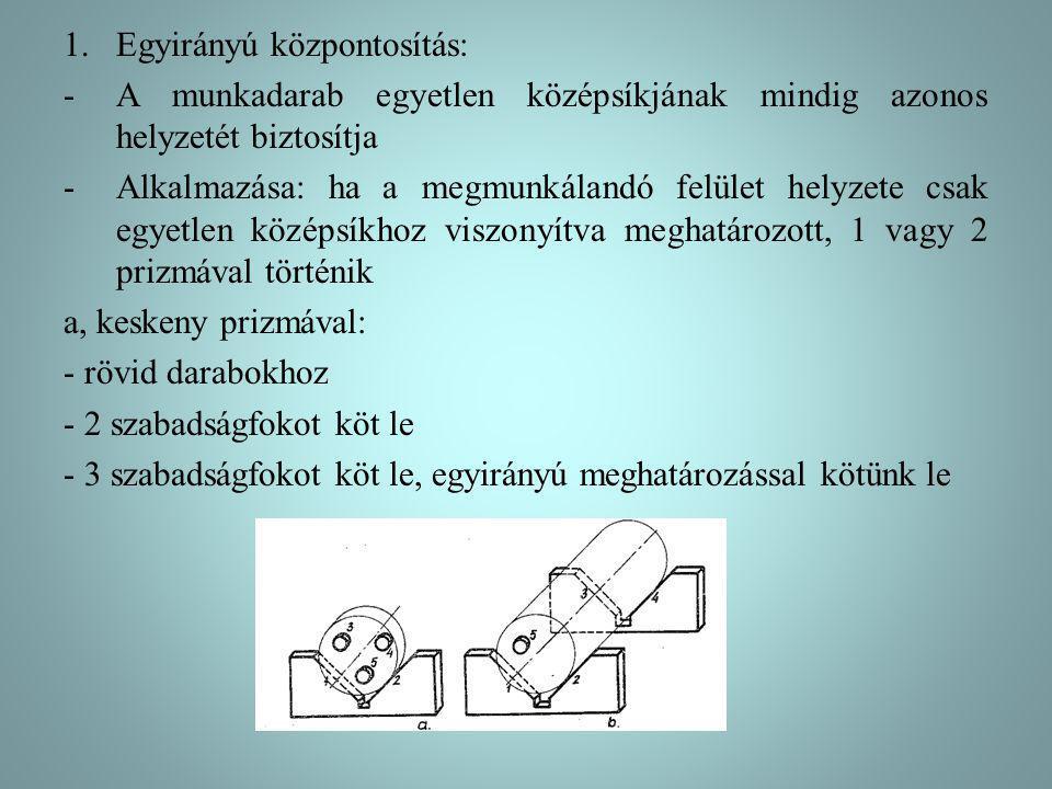 1.Egyirányú központosítás: -A munkadarab egyetlen középsíkjának mindig azonos helyzetét biztosítja -Alkalmazása: ha a megmunkálandó felület helyzete csak egyetlen középsíkhoz viszonyítva meghatározott, 1 vagy 2 prizmával történik a, keskeny prizmával: - rövid darabokhoz - 2 szabadságfokot köt le - 3 szabadságfokot köt le, egyirányú meghatározással kötünk le