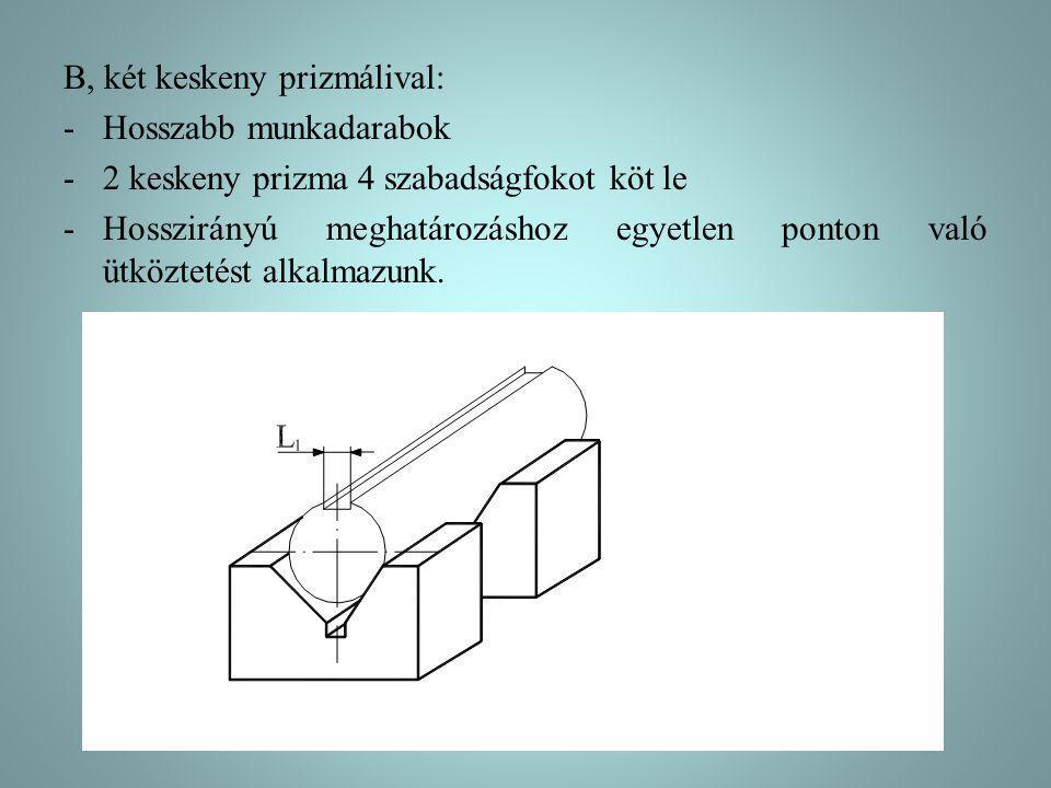 B, két keskeny prizmálival: -Hosszabb munkadarabok -2 keskeny prizma 4 szabadságfokot köt le -Hosszirányú meghatározáshoz egyetlen ponton való ütköztetést alkalmazunk.