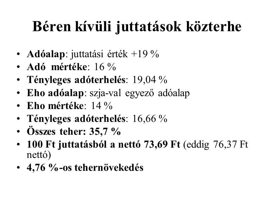 Béren kívüli juttatások közterhe Adóalap: juttatási érték +19 % Adó mértéke: 16 % Tényleges adóterhelés: 19,04 % Eho adóalap: szja-val egyező adóalap