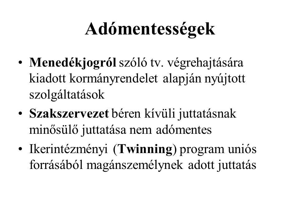 Adómentességek Menedékjogról szóló tv.
