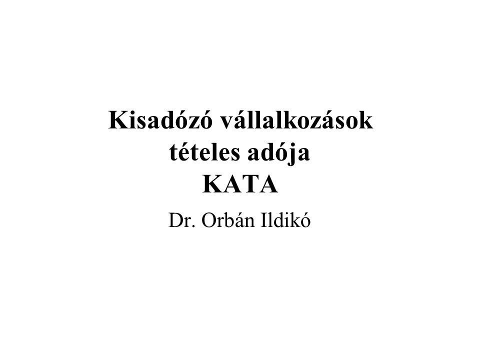 Kisadózó vállalkozások tételes adója KATA Dr. Orbán Ildikó