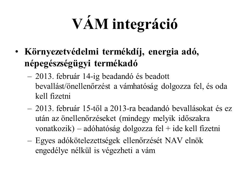 VÁM integráció Környezetvédelmi termékdíj, energia adó, népegészségügyi termékadó –2013.