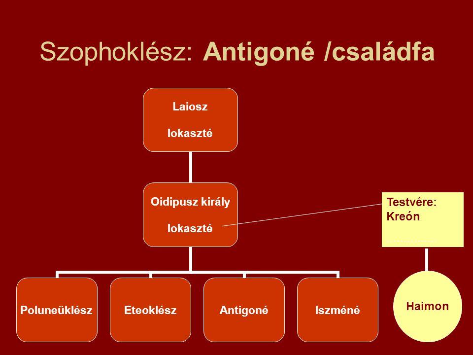 Szophoklész: Antigoné /családfa Laiosz Iokaszté Oidipusz király Iokaszté PoluneüklészEteoklészAntigonéIszméné Testvére: Kreón............... Haimon