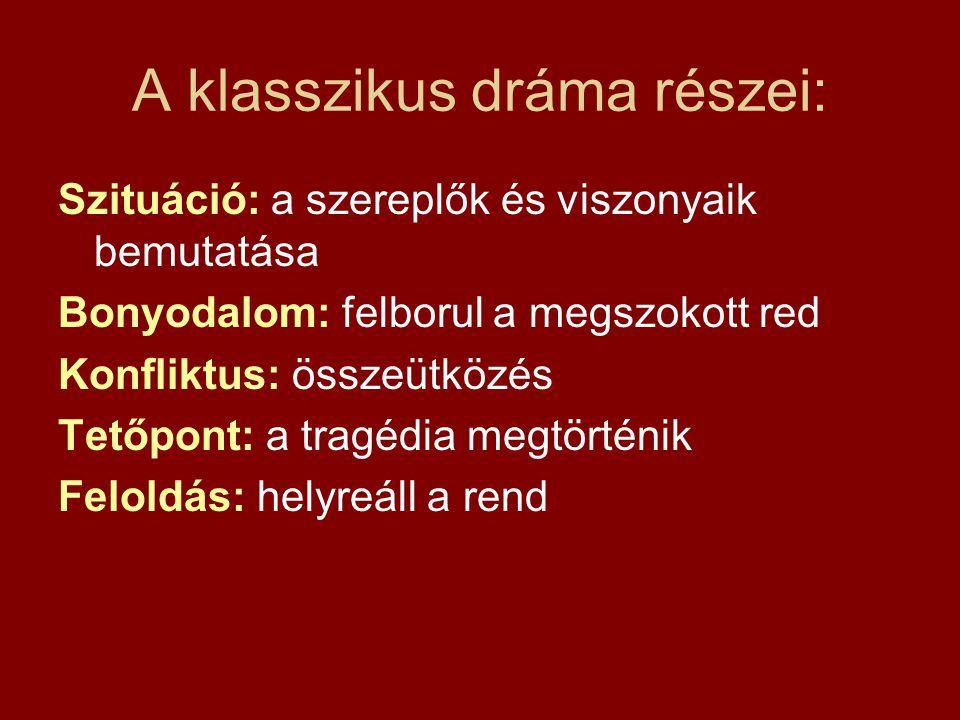 A klasszikus dráma részei: Szituáció: a szereplők és viszonyaik bemutatása Bonyodalom: felborul a megszokott red Konfliktus: összeütközés Tetőpont: a
