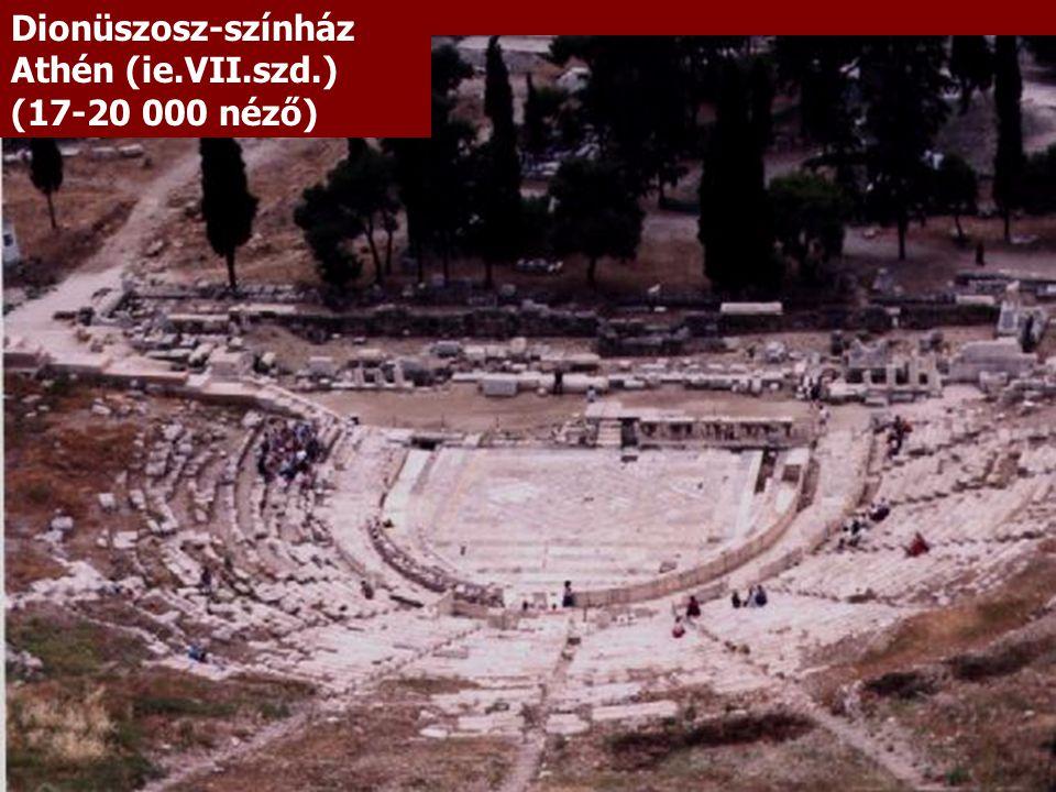 Dionüszosz-színház Athén (ie.VII.szd.) (17-20 000 néző)