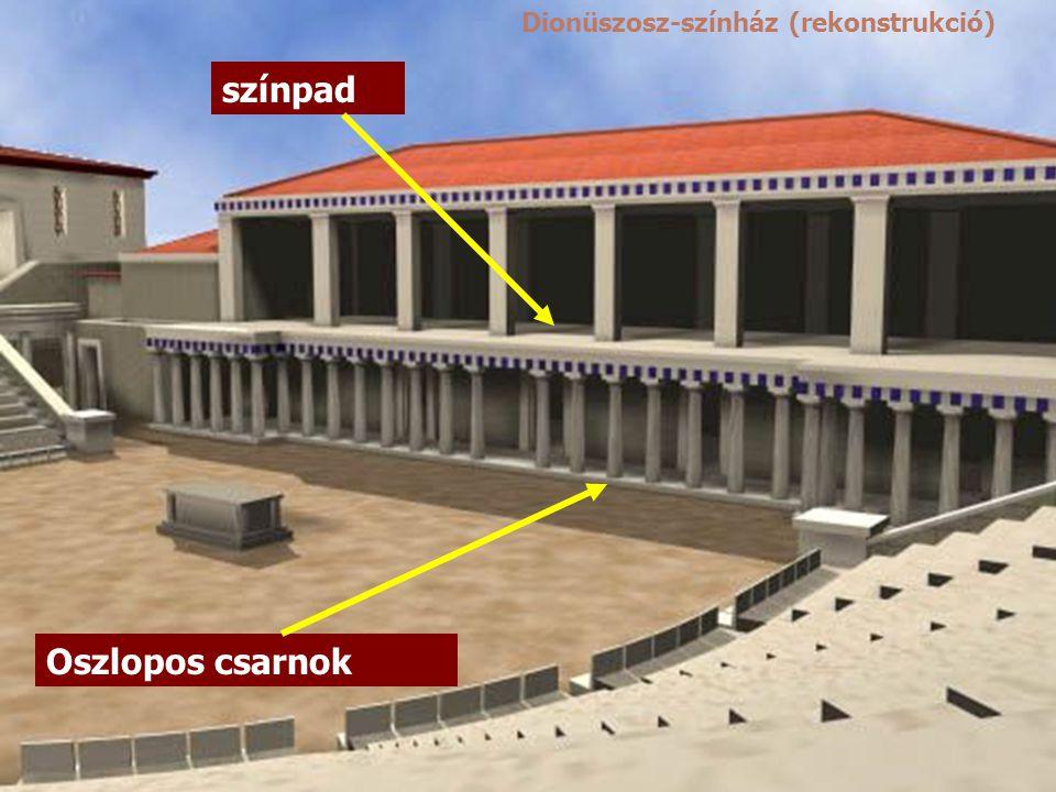 színpad Oszlopos csarnok Dionüszosz-színház (rekonstrukció)