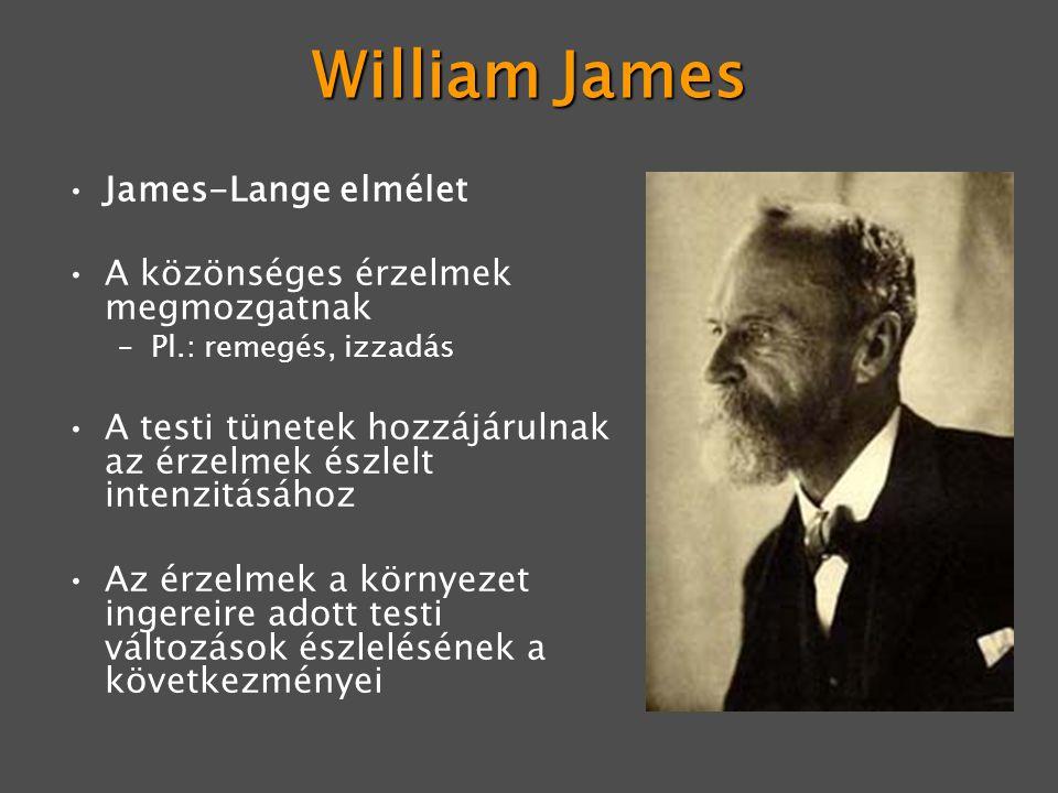 William James James-Lange elmélet A közönséges érzelmek megmozgatnak –Pl.: remegés, izzadás A testi tünetek hozzájárulnak az érzelmek észlelt intenzitásához Az érzelmek a környezet ingereire adott testi változások észlelésének a következményei