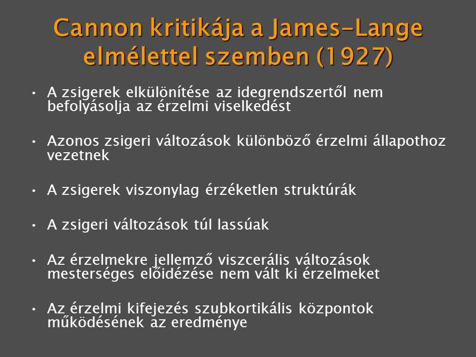 Cannon kritikája a James-Lange elmélettel szemben (1927) A zsigerek elkülönítése az idegrendszertől nem befolyásolja az érzelmi viselkedést Azonos zsigeri változások különböző érzelmi állapothoz vezetnek A zsigerek viszonylag érzéketlen struktúrák A zsigeri változások túl lassúak Az érzelmekre jellemző viszcerális változások mesterséges előidézése nem vált ki érzelmeket Az érzelmi kifejezés szubkortikális központok működésének az eredménye