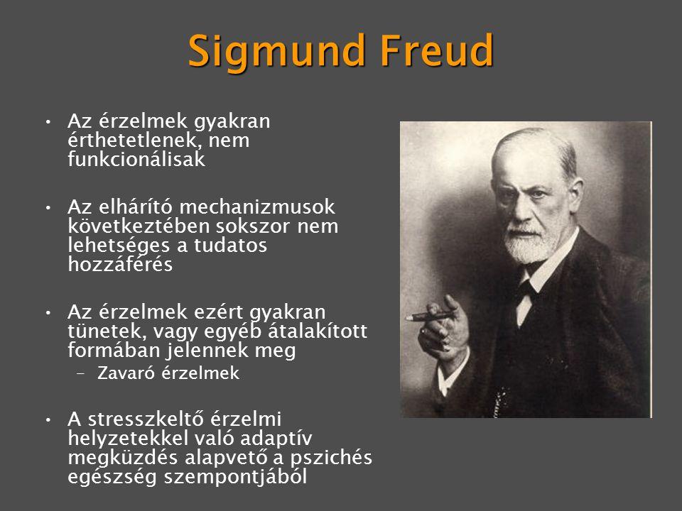 Sigmund Freud Az érzelmek gyakran érthetetlenek, nem funkcionálisak Az elhárító mechanizmusok következtében sokszor nem lehetséges a tudatos hozzáférés Az érzelmek ezért gyakran tünetek, vagy egyéb átalakított formában jelennek meg –Zavaró érzelmek A stresszkeltő érzelmi helyzetekkel való adaptív megküzdés alapvető a pszichés egészség szempontjából
