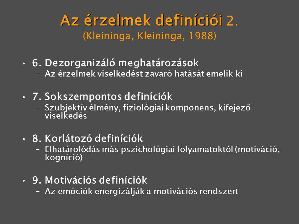 Az érzelmek definíciói Az érzelmek definíciói 2. (Kleininga, Kleininga, 1988) 6. Dezorganizáló meghatározások –Az érzelmek viselkedést zavaró hatását