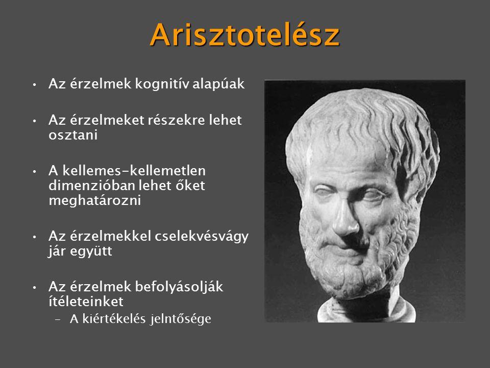 Arisztotelész Az érzelmek kognitív alapúak Az érzelmeket részekre lehet osztani A kellemes-kellemetlen dimenzióban lehet őket meghatározni Az érzelmek