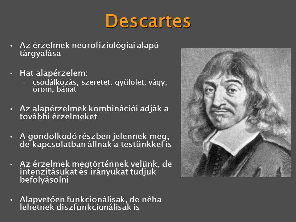 Descartes Az érzelmek neurofiziológiai alapú tárgyalása Hat alapérzelem: –csodálkozás, szeretet, gyűlölet, vágy, öröm, bánat Az alapérzelmek kombinációi adják a további érzelmeket A gondolkodó részben jelennek meg, de kapcsolatban állnak a testünkkel is Az érzelmek megtörténnek velünk, de intenzitásukat és irányukat tudjuk befolyásolni Alapvetően funkcionálisak, de néha lehetnek diszfunkcionálisak is