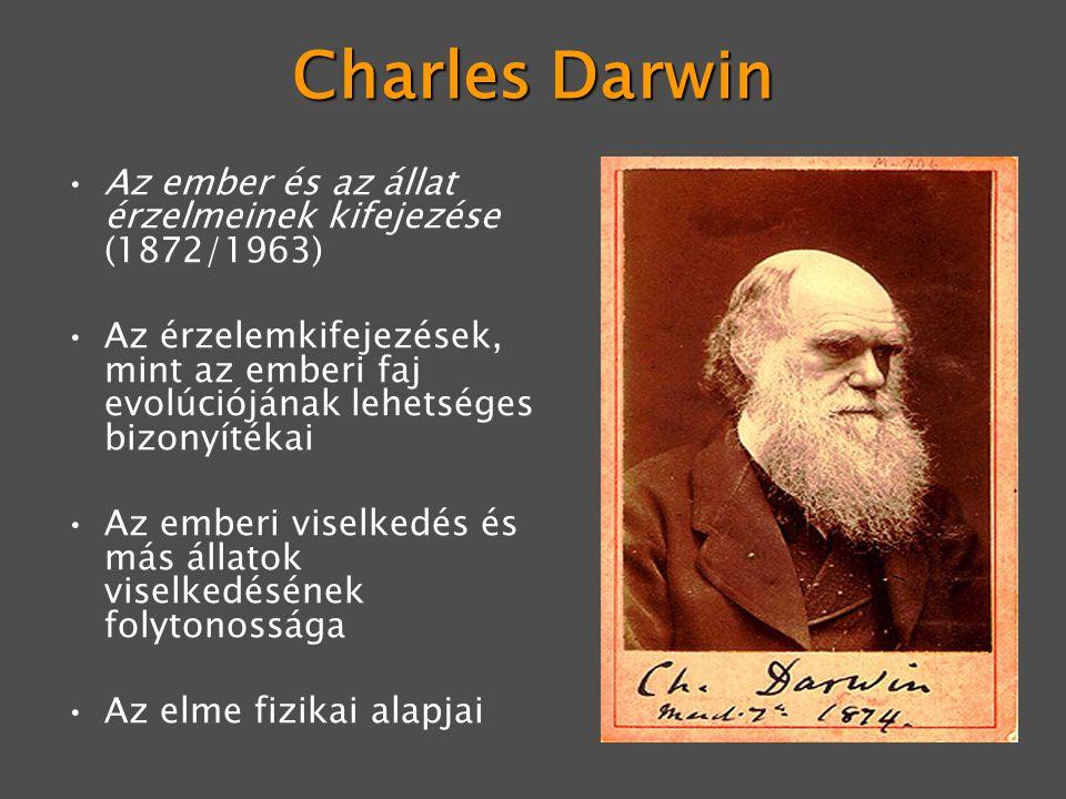 Charles Darwin Az ember és az állat érzelmeinek kifejezése (1872/1963) Az érzelemkifejezések, mint az emberi faj evolúciójának lehetséges bizonyítékai Az emberi viselkedés és más állatok viselkedésének folytonossága Az elme fizikai alapjai