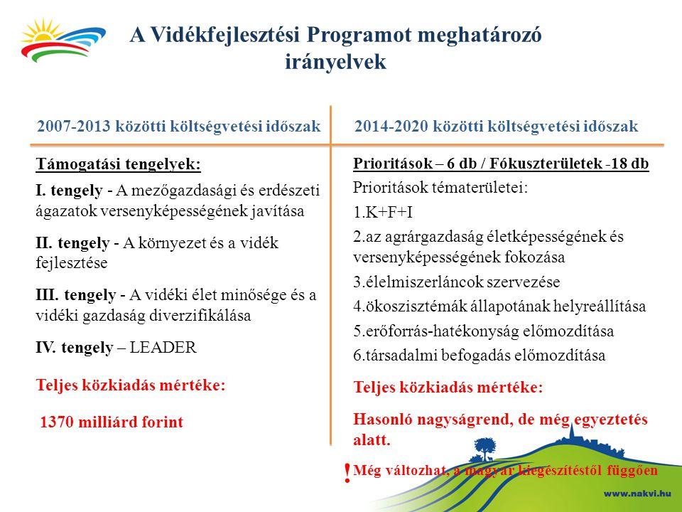 A Vidékfejlesztési Programot meghatározó irányelvek 2007-2013 közötti költségvetési időszak Támogatási tengelyek: I.