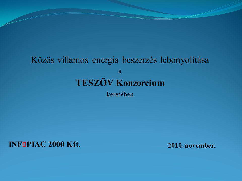 INF PIAC 2000 Kft. 2010. november. Közös villamos energia beszerzés lebonyolítása a TESZÖV Konzorcium keretében