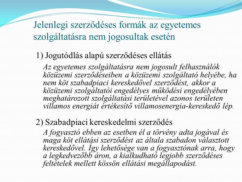 Jelenlegi szerződéses formák az egyetemes szolgáltatásra nem jogosultak esetén 1) Jogutódlás alapú szerződéses ellátás Az egyetemes szolgáltatásra nem