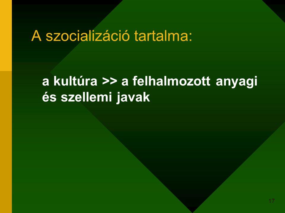 17 A szocializáció tartalma: a kultúra >> a felhalmozott anyagi és szellemi javak