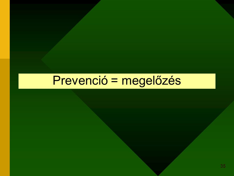 35 Prevenció = megelőzés