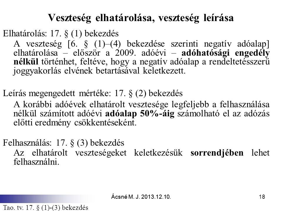 Ácsné M.J. 2013.12.10. Veszteség elhatárolása, veszteség leírása Elhatárolás: 17.