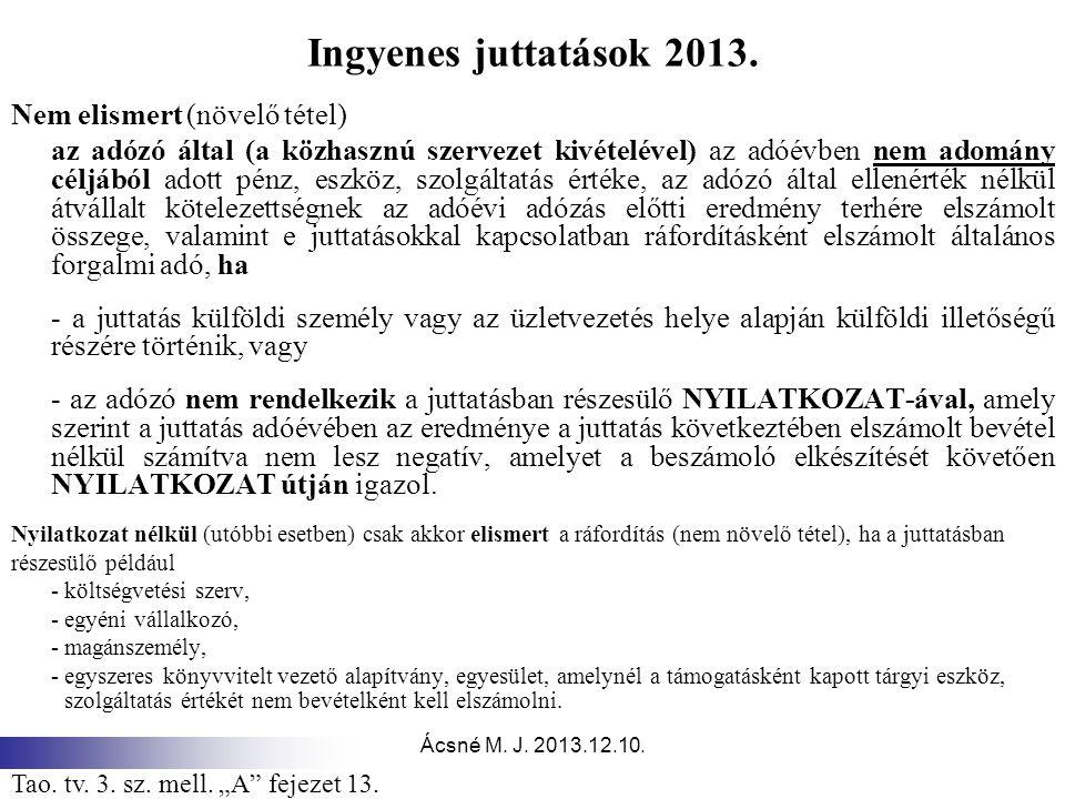 Ácsné M.J. 2013.12.10. Ingyenes juttatások 2013.