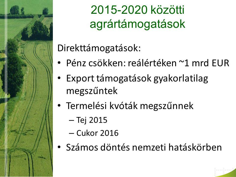 2015-2020 közötti agrártámogatások Direkttámogatások: Pénz csökken: reálértéken ~1 mrd EUR Export támogatások gyakorlatilag megszűntek Termelési kvóták megszűnnek – Tej 2015 – Cukor 2016 Számos döntés nemzeti hatáskörben