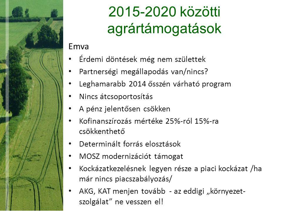 2015-2020 közötti agrártámogatások Emva Érdemi döntések még nem születtek Partnerségi megállapodás van/nincs.