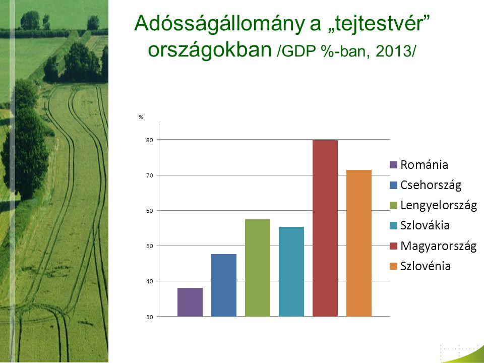"""Adósságállomány a """"tejtestvér országokban /GDP %-ban, 2013/"""