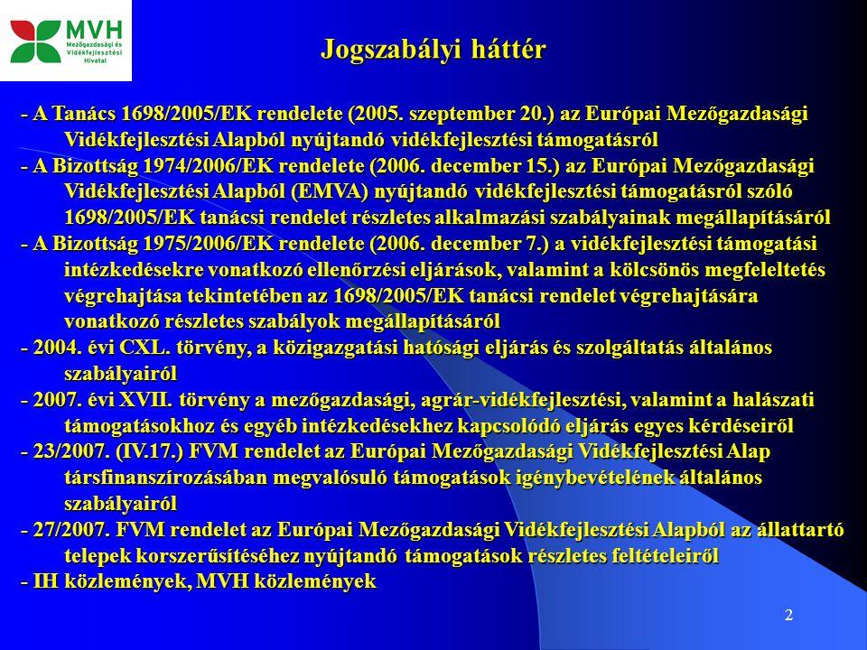 2 Jogszabályi háttér - A Tanács 1698/2005/EK rendelete (2005.