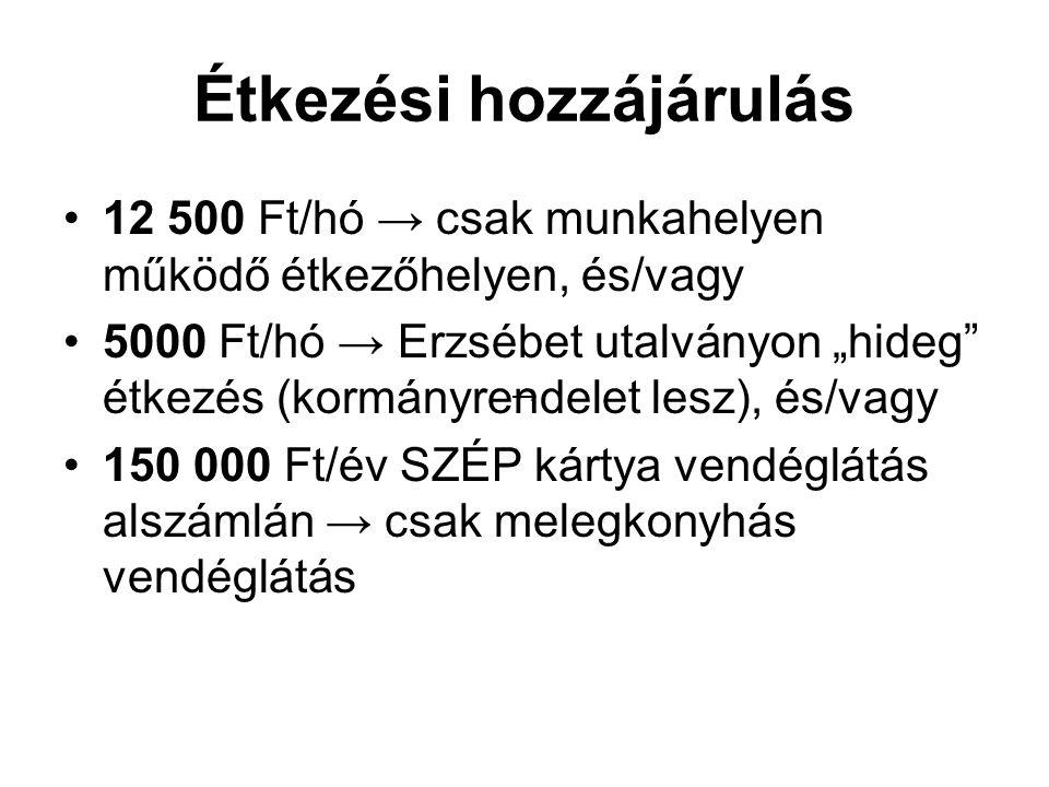 """Étkezési hozzájárulás 12 500 Ft/hó → csak munkahelyen működő étkezőhelyen, és/vagy 5000 Ft/hó → Erzsébet utalványon """"hideg"""" étkezés (kormányrendelet l"""