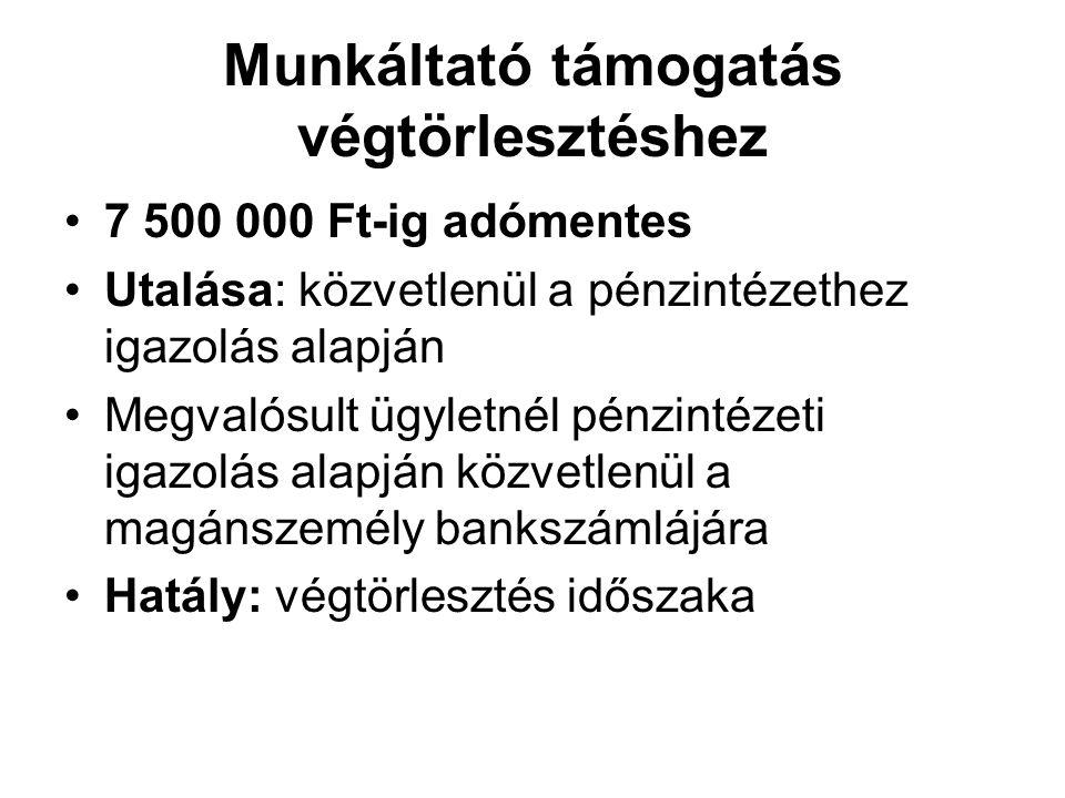 Munkáltató támogatás végtörlesztéshez 7 500 000 Ft-ig adómentes Utalása: közvetlenül a pénzintézethez igazolás alapján Megvalósult ügyletnél pénzintéz