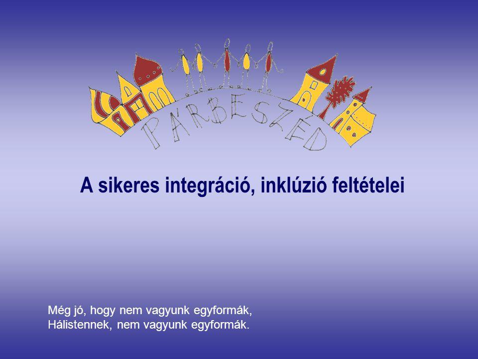 Európai Uniós törekvés, szemlélet Különböző okokból és módon hátrányos helyzetűeket ne különítsük el, a többiekkel együtt a különnevelés alternatívájaként megjelenik az együttnevelés / integráció / JÓ ESETBEN Az intézmény egészét áthatva Inklúzív pedagógia valósul meg Integrációt sikeresen felvállaló intézmény előbb-utóbb inklúzívvá válik