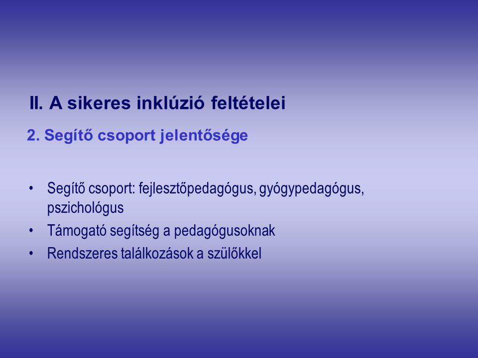 Segítő csoport: fejlesztőpedagógus, gyógypedagógus, pszichológus Támogató segítség a pedagógusoknak Rendszeres találkozások a szülőkkel II. A sikeres