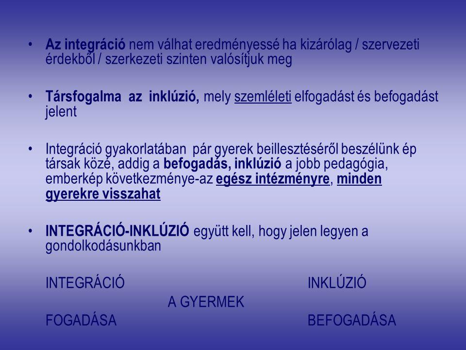 Az integráció nem válhat eredményessé ha kizárólag / szervezeti érdekből / szerkezeti szinten valósítjuk meg Társfogalma az inklúzió, mely szemléleti