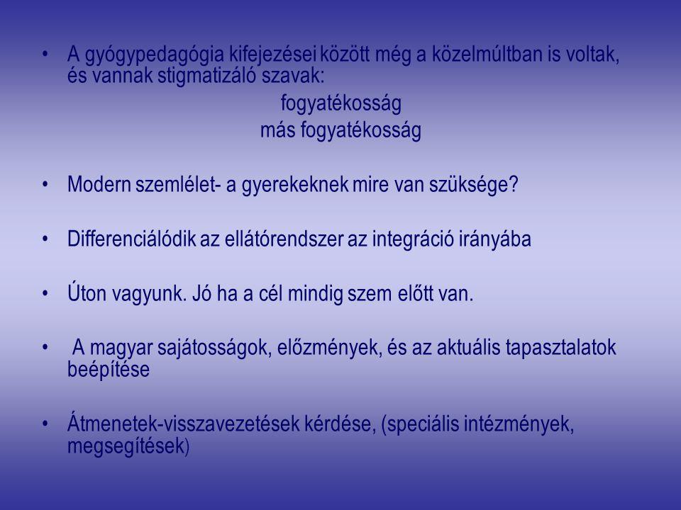 I.A PSZICHOLÓGIAI SZEMLÉLET FORMÁLÁSA II. A SIKERES INKLÚZIÓ FELTÉTELEI 1.