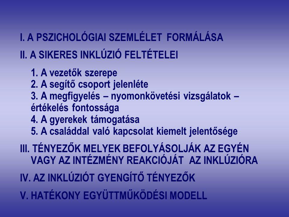 I. A PSZICHOLÓGIAI SZEMLÉLET FORMÁLÁSA II. A SIKERES INKLÚZIÓ FELTÉTELEI 1. A vezetők szerepe 2. A segítő csoport jelenléte 3. A megfigyelés – nyomonk