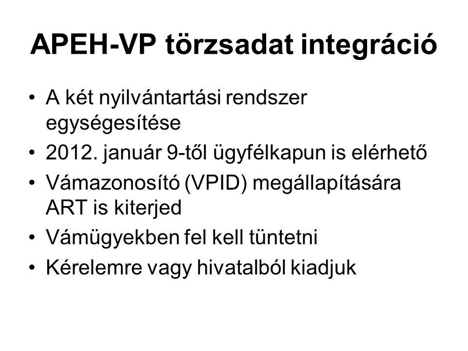 APEH-VP törzsadat integráció A két nyilvántartási rendszer egységesítése 2012. január 9-től ügyfélkapun is elérhető Vámazonosító (VPID) megállapításár